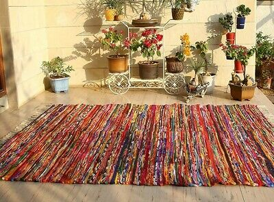 Handmade Fair Trade Area Chindi Rag Rugs Hand Woven Mat Large Small Strip Indian • 40£