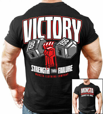 Victory: Strength Thru Failure Monsta Clothing Mens Gym Fashion Tee: Black • 10.72£