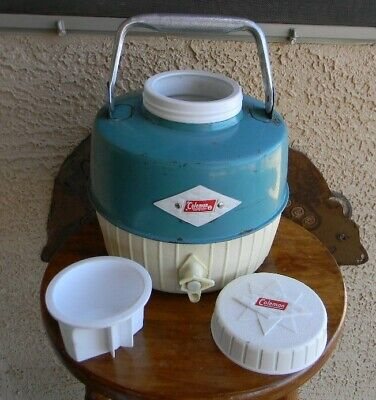 $32 • Buy VTG 60s COLEMAN BLUE DIAMOND LOGO 1 GAL CAMPING THERMOS/WATER JUG W/CUP MADE USA