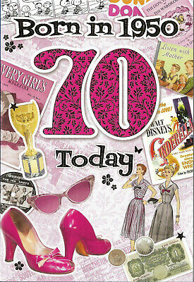 70th Birthday Female Year You Were Born Card With Facts About 1950 • 2.65£