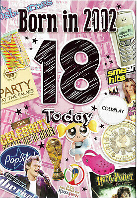 18th Birthday Female Year You Were Born Card. With Facts About 2002 • 2.69£
