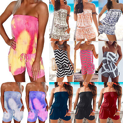 Womens Strapless Bandeau Playsuit Shorts Jumpsuit Summer Beach Ladies Rompers • 10.06£