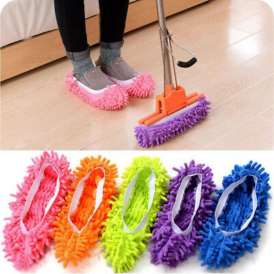 2/4PCS MICROFIBRE DUSTER SHOE SOCK SLIPPERS MOP DUST CLEANING FLOOR K#t • 5.15£