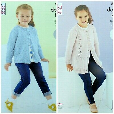 £3.95 • Buy KNITTING PATTERN Childrens Bobble And Lace Cardigans Cherished DK King Cole 5587
