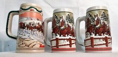 $ CDN65.87 • Buy Budweiser Vintage Holiday Beer Stein Mug Lot - 1984 (x2) & 1996 Clydesdales