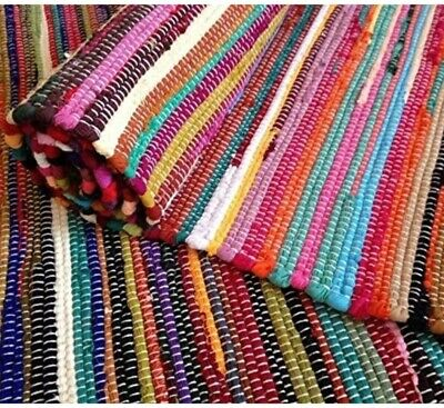 Small Large Handmade Indian Chindi Rag Rugs Carpet Woven Loom Recycled Door Mats • 45£