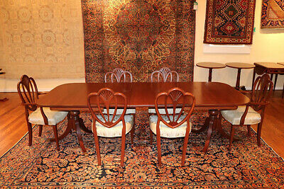 $1650 • Buy Awesome 1940's Solid Mahogany Dining Room Set 6 Chairs 2 Leaves