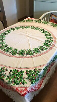 $ CDN25.71 • Buy Vintage Winter Holiday Christmas Tablecloth 60  Round Incl Fringe A+++ Free Ship