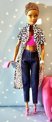 Barbie Doll Clothes Leopard Print Duster Halter Jeans Bag Shoes Bracelet NWOT • 10.37£