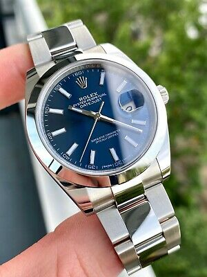 $ CDN11117.19 • Buy 2018 Rolex Datejust 126300 Blue Dial Stainless Steel Oyster Bracelet W/ Papers