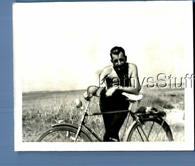 $ CDN4.82 • Buy Gay Interest Photo R+0801 Shirtless Man Posed Leaned Over Bicycle
