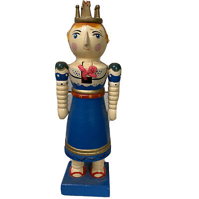 $24.97 • Buy Queen Nutcracker Wooden Girl Princess Crown Spindle Turned Arms 12  Tall