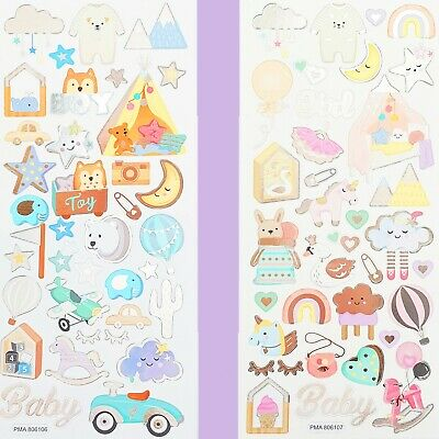BOY/GIRL FOIL STICKERS Baby Kids Birthday Card Making Decorating Scrapbook Set • 2.79£