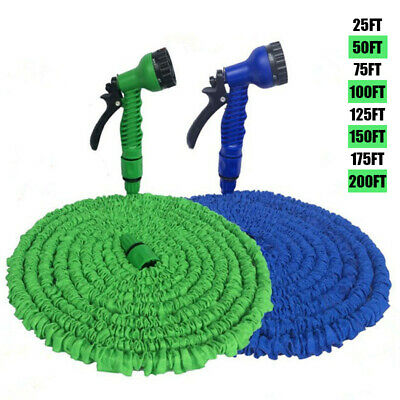 25-200FT Deluxe Stretch Flexible Hose Extendable Compact Garden Water Hose Pipe • 14.98£