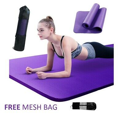 AU24.99 • Buy NBR Yoga Mat 10 15 20 Thick  Pad Nonslip Exercise Fitness Pilate Gym Mesh Bag