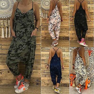 Womens Camo Dungarees Harem Strap Pants Loose Wide Leg Jumpsuit Overall Trousers • 12.53£
