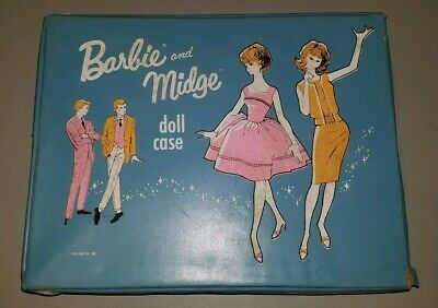$ CDN27.14 • Buy Vintage 1963 Barbie And Midge Doll Case Blue Mattel With Cloths