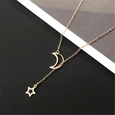 AU5.99 • Buy Simple Gold Plated Chain Adjustable Y Lariat Necklace Moon Star Pendant Boho