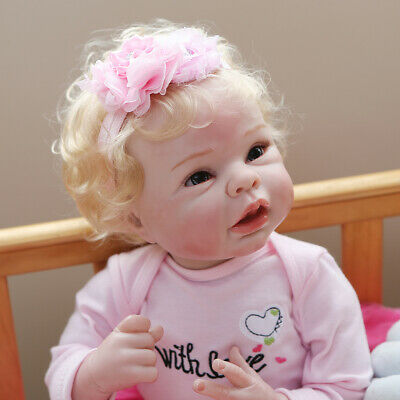 $ CDN72.58 • Buy 22  Reborn Baby Dolls Cloth Body Girl Handmade Doll Silicone Vinyl 55CM Gift Toy