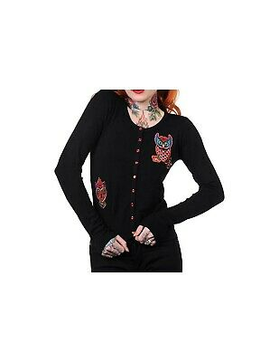Banned Owl Cardigan | Black -- Alternative Clothing Rock Metal Emo • 25£