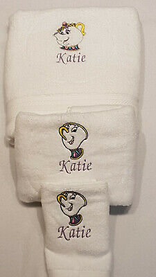 Personalised Embroidered Mrs Potts & Chip Face Cloth Towel Set Flannel Xmas Gift • 5.95£