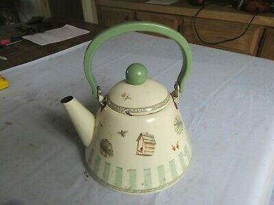 $14.99 • Buy Vintage Enamel Teapot Kettle White & Green 10  Tall Lot 20-38-3