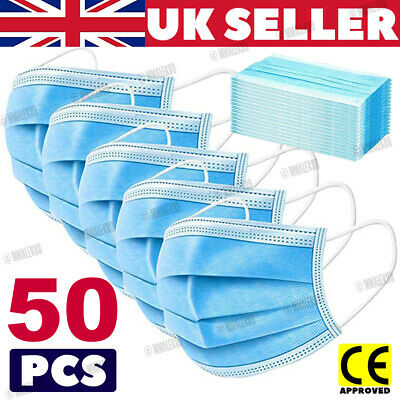 £3.79 • Buy 50 Face Mask Non Surgical Disposable Mouth Guard Cover Face Masks Respiration UK