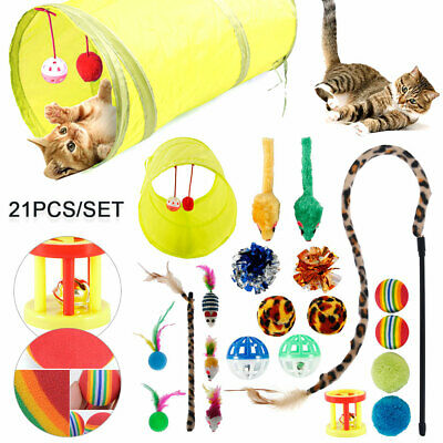 AU17.58 • Buy 21 Pcs Cat Toys Kitten Rod Mouse Feathers Bells Ball Fur Scratch Teaser Rat