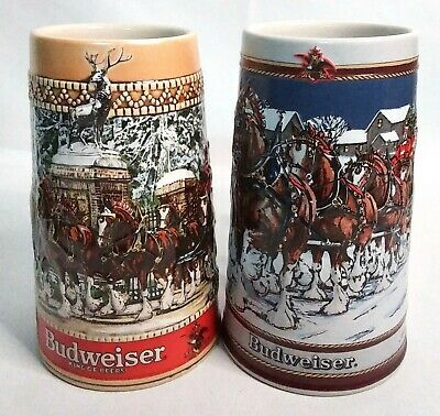 $ CDN46.10 • Buy Vintage Budweiser Holiday Beer Stein Lot - 1987 & 89 Clydesdales Limited Edition