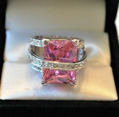 $35 • Buy Rhodium Plated Rhinestone Size 7.75 Ring With Large Pink Cz