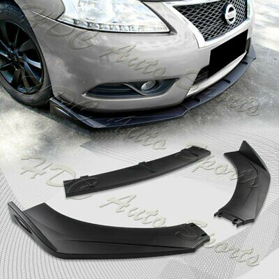 $39.99 • Buy Universal Unpainted Black Front Bumper Protector Body Splitter Spoiler Lip 3PCS
