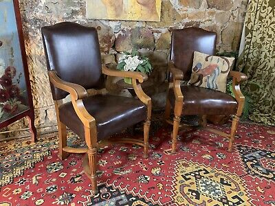 AU130.09 • Buy Pair Antique Library Armchairs-Chair-Hall-Office-Desk-Handcarved~X Government