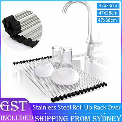 AU20.99 • Buy Stainless Steel Sink Kitchen Dish Drainer Foldable Draining Rack RollUp RackOver