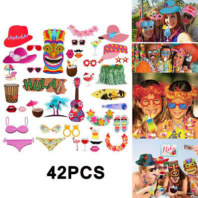 42pcs Hawaiian Luau Tiki Photo Booth Selfie Props Tropical Beach Party Holiday • 3.99£