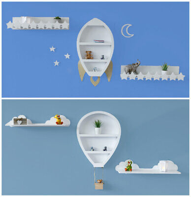 £31.99 • Buy White Wooden Hanging Wall Shelves Rocket Balloon Clouds Novelty Nursery Storage