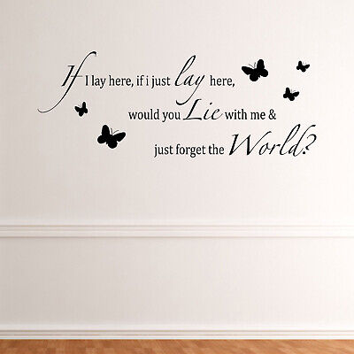 If I Lay Here Butterflies Chasing Cars Song Lyrics Snow Patrol Wall Sticker • 16.95£