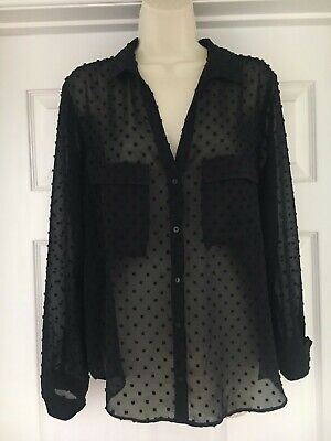 $12 • Buy Zara Basic Collection Black Sheer Blouse With Dots Size LARGE - Pre-Owned