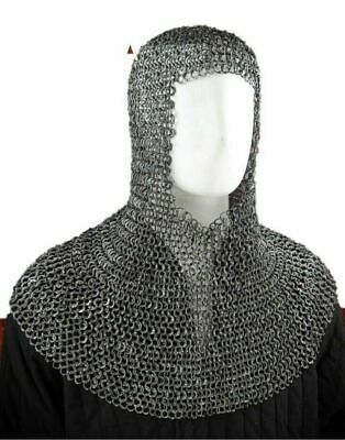 $56.50 • Buy ChainMail Flat Riveted Only 9 Mm Chain Mail Coif Knight Role Play Armor Costume