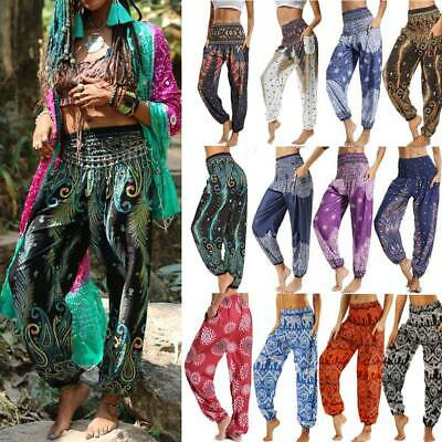 AU27.29 • Buy Women Boho Baggy Gypsy Yoga Harem Pants Hippie Loose Aladdin Trousers Plus Size