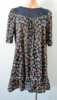 AU32 • Buy ASOS Dress Size 14 Blue Orange Green Floral A Line Short Sleeve Smock