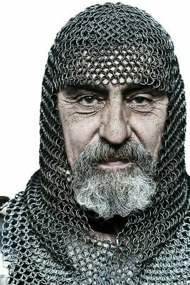 $50.85 • Buy  Chainmail  9 Mm Butted Costume Mild Steel Black Medieval Hood LARP