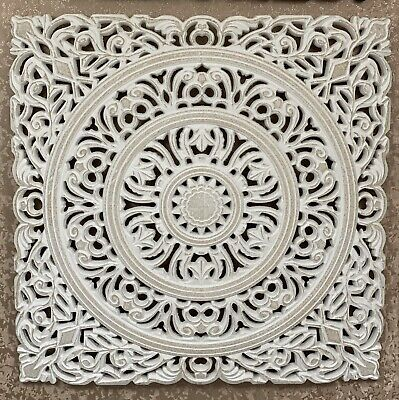 £39.99 • Buy Carved Wooden Wall Panel Fretwork White Wall Art Decor Hanging Panels 56x56
