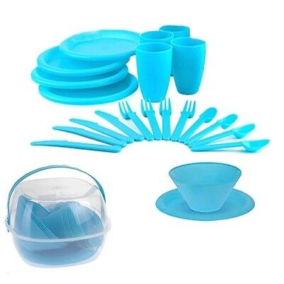 £8.95 • Buy 30pc Plastic Picnic Set Outdoor Camping Mug Party Dinner Plate Cutlery Lunch Box