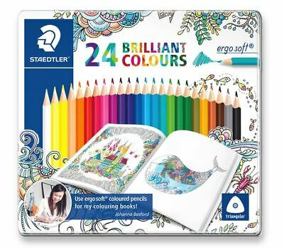Staedtler Ergo Soft Triangular Colouring Pencils With Unique ABS Pack Of 24 • 19.99£