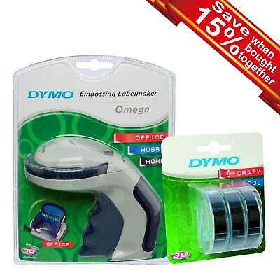Dymo Omega Embossing Label Maker Or 3D Label White On Black Tape Single/Bundle • 12.99£