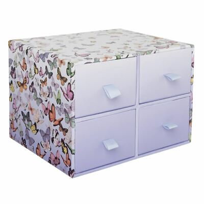 WHSmith Amaya Butterflies Mini Multi Drawer Unit With Lilac Inner Paper Linings • 13.49£