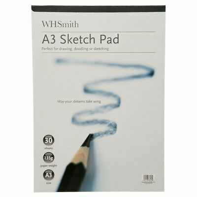 WHSmith A3 Sketch Pad With Acid-Free White Leaves 135 GSM Pack Of 30 Sheets • 6.74£