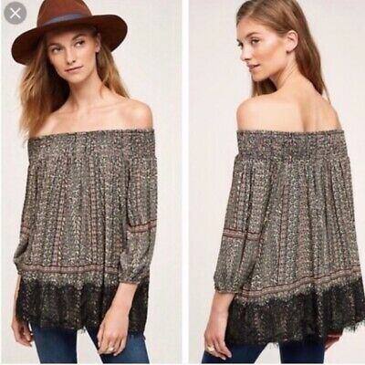 $ CDN36.73 • Buy Anthropologie Vanessa Virginia Womens MP Top Off Shoulder Black Lace Hem Paisley