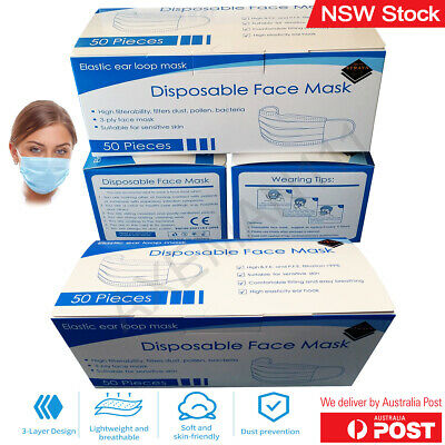 AU19.95 • Buy Disposable Face Masks 3-Layer Surgical Certified Anti Flu Bacterial Dust Filter