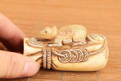 Japanese Old Deer Horn Hand Carved Fortune Mouse Netsuke Table Home Decoration • 49£